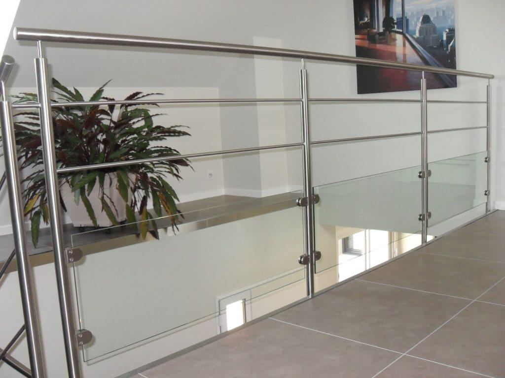Garde-Corps intérieur métal inox et verre