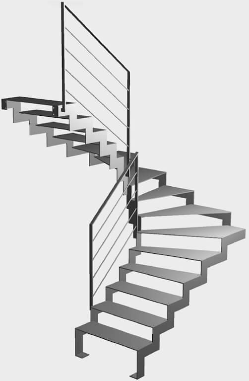 Escalier 2/4 tournant en 3D