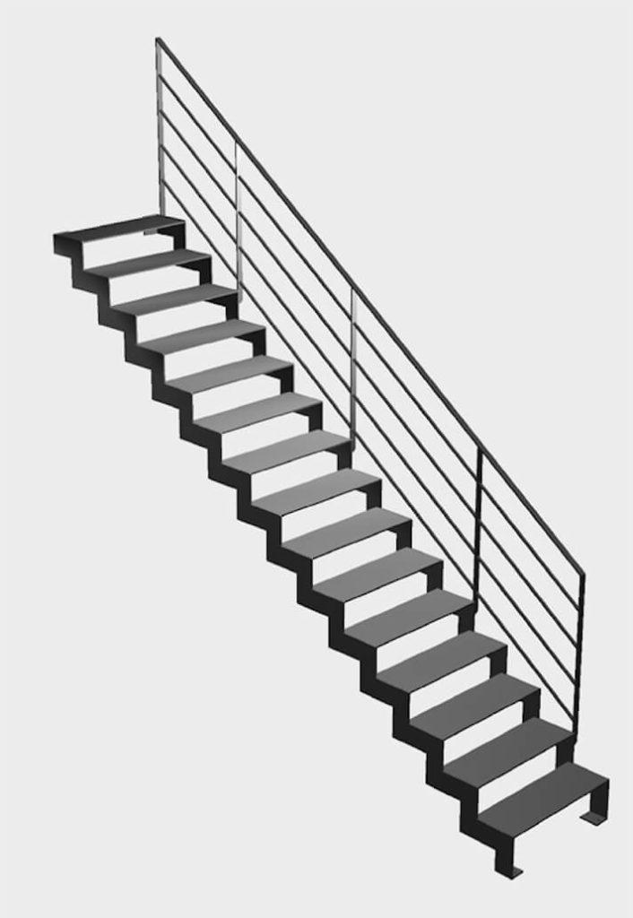 Escalier droit en 3d