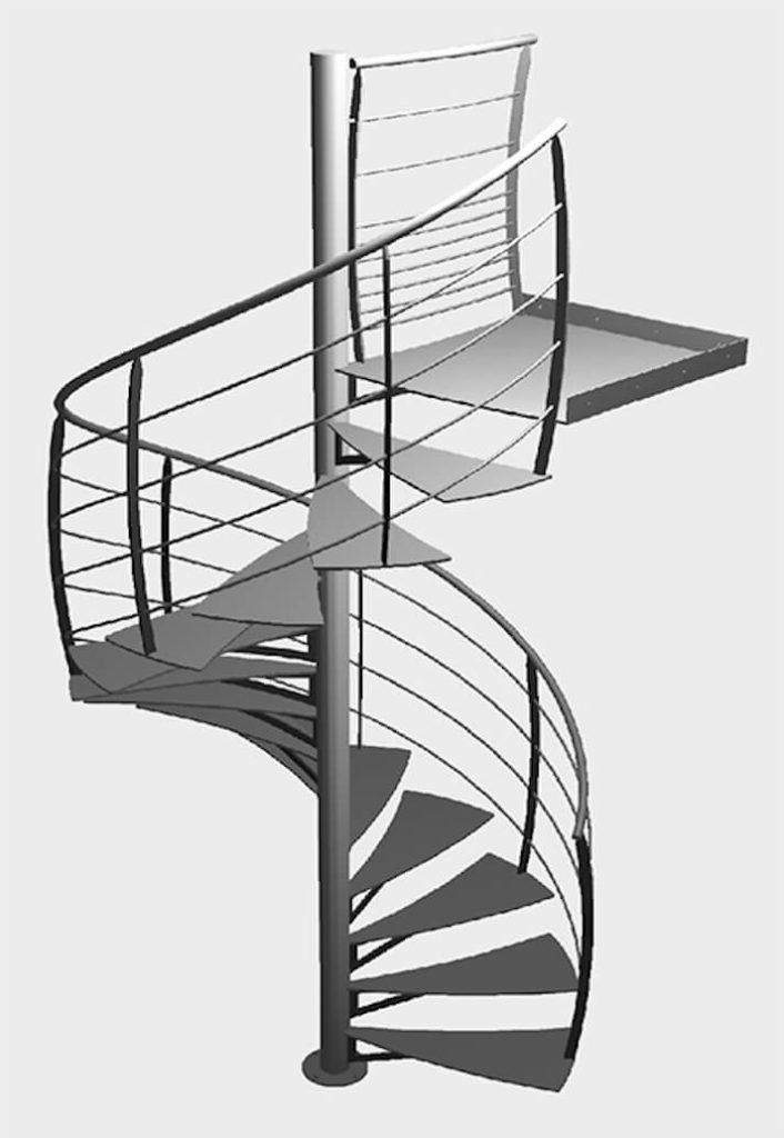 Escalier hélicoïdal en 3d