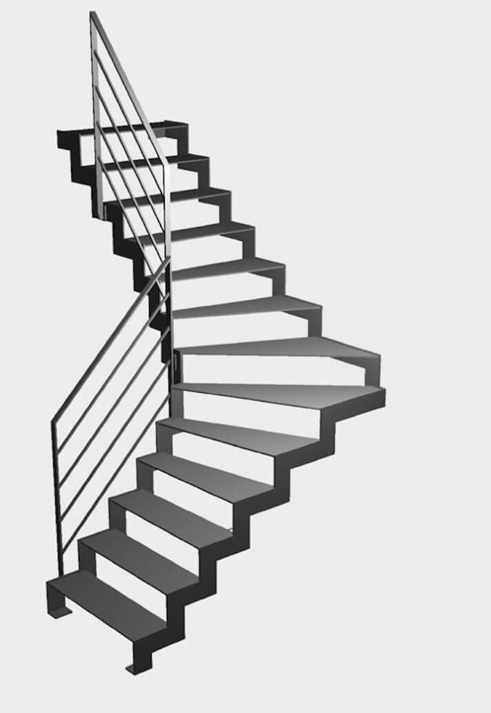 Escalier 1/4 tournant en 3d